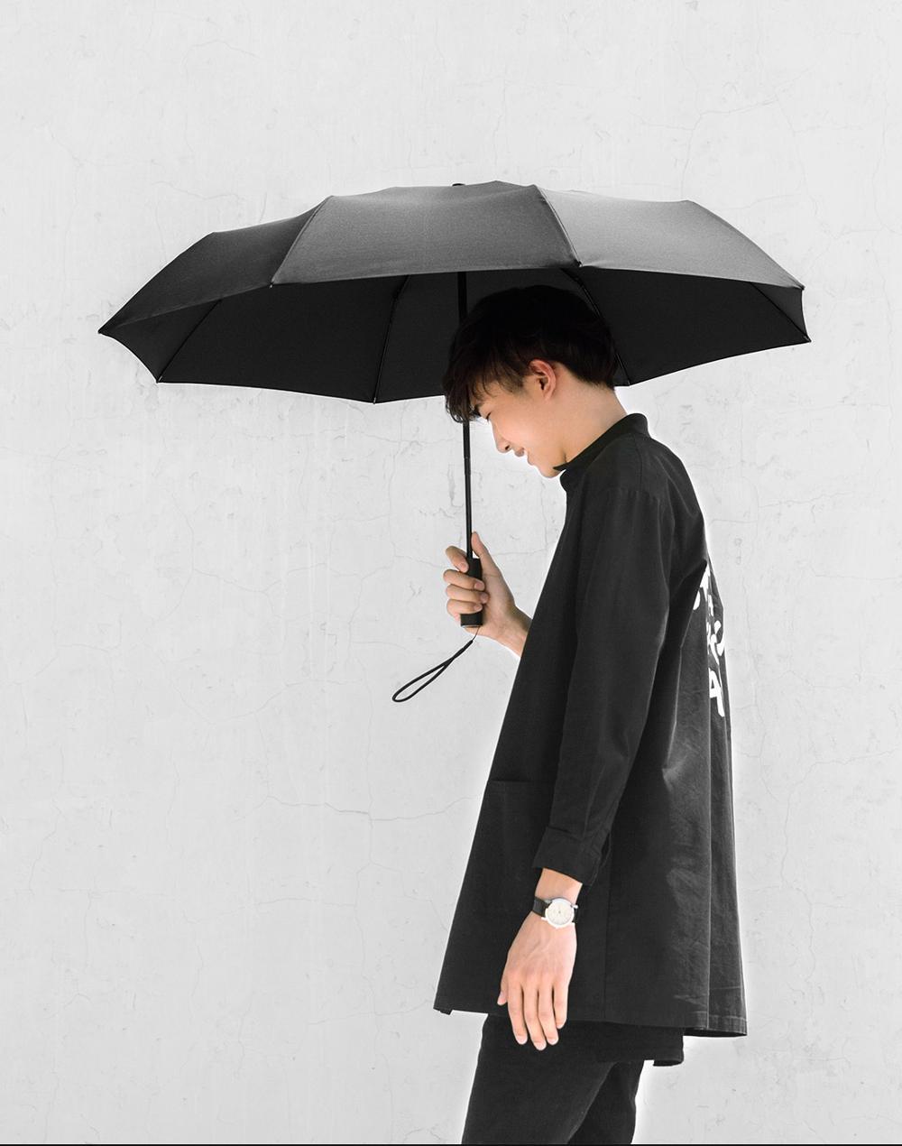 Xiaomi Mijia Автоматический складной 1-зонтик и открытие 420g Алюминий ветрозащитный мужские и женские Водонепроницаемый для зимы летний зонтик - Цвет: Black
