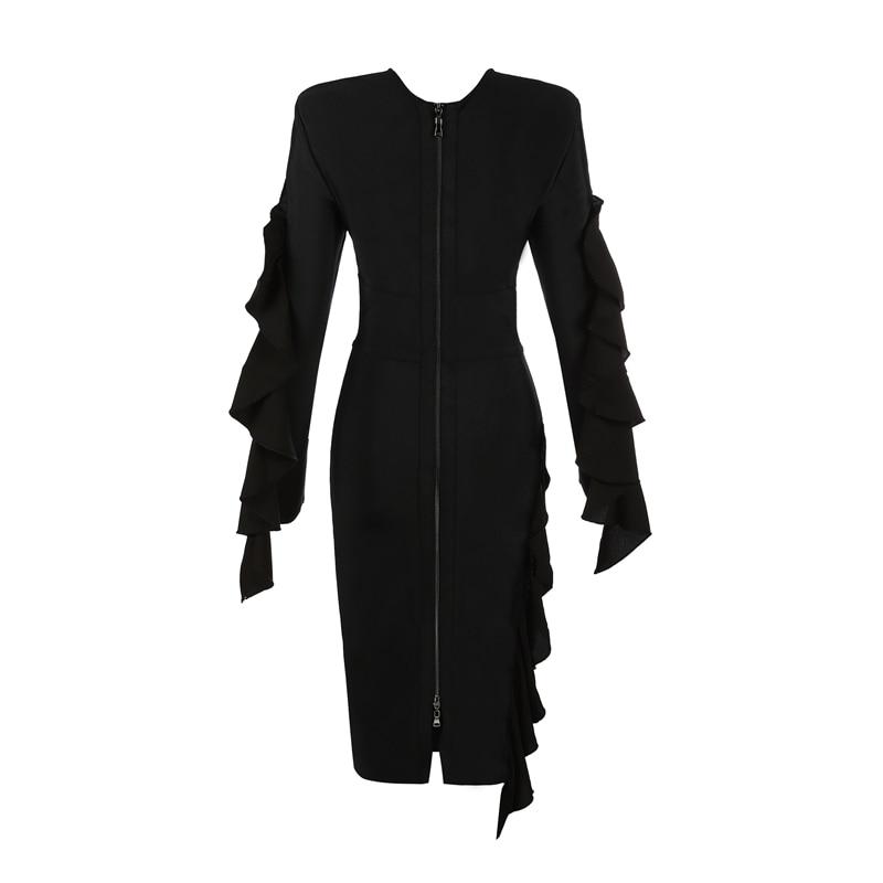 Indressme Bandage Sexy Hiver Robe 2018 Cascade Club Mode Longues O Manches À Ruches Femmes Cou Chaude Parti Nouvelles Noire Black De XqrIxrBw