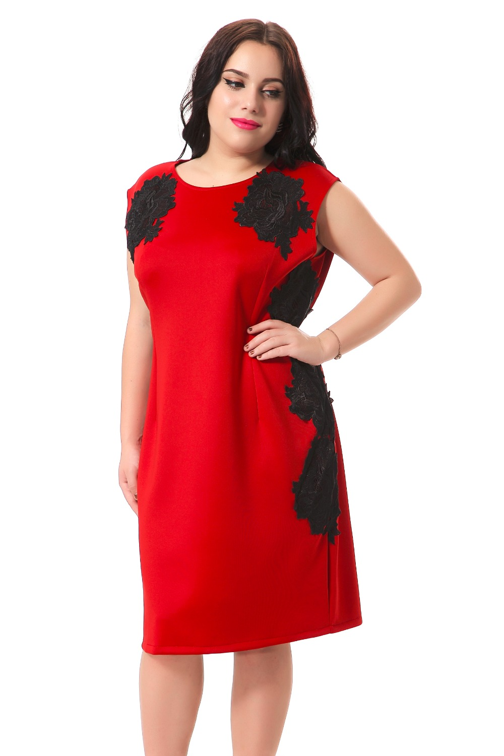 HD wallpapers plus size red pencil dress