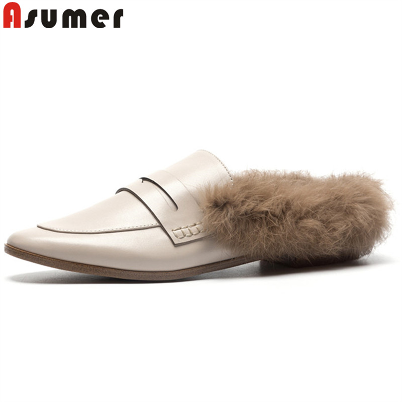 2018 new women leather shoes woman single shoes shallow round tow spring autumn ballet flats shoes women casual shoes ASUMER 2018 autumn shoes woman round toe shallow flat shoes genuine leather shoes fur low heels mules women flats casual shoes