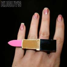 KUGUYS Fashion Acrylic Jewelry Hyperbole HipHop Large Rings Lipstick Ring for Women