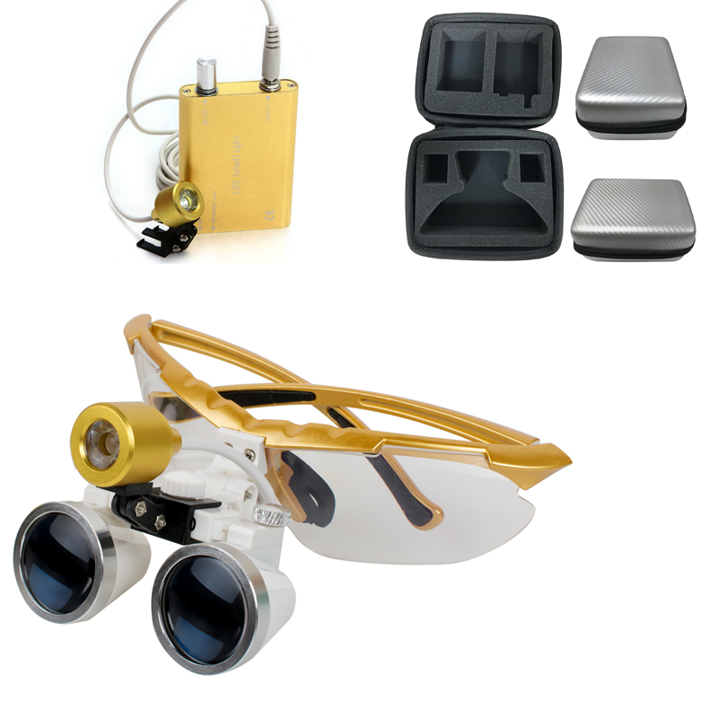 Quality Guarantee-Wholesale dental loupes 2.5X 320mm Dental Surgical Binocular with LED Head Light Lamp Yellow+Silver Carry Case 5 0x magnification professional loupes with silver bp sports frame and mounted led head light with apd function