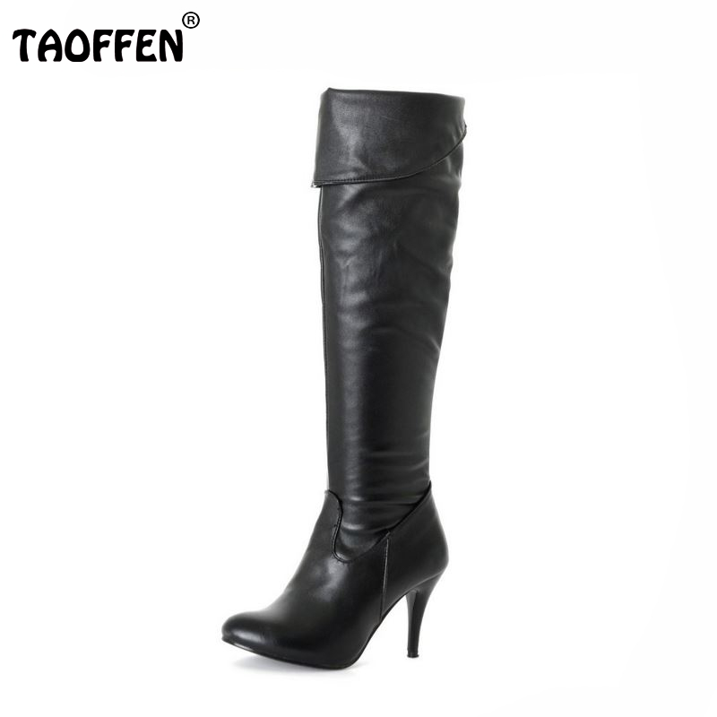 цены на TAOFFEN Size 34-47 Women High Heel Over Knee Boots Fashion Snow Long Boot Warm Winter Brand Botas Footwear Heels Shoes P1318-2 в интернет-магазинах