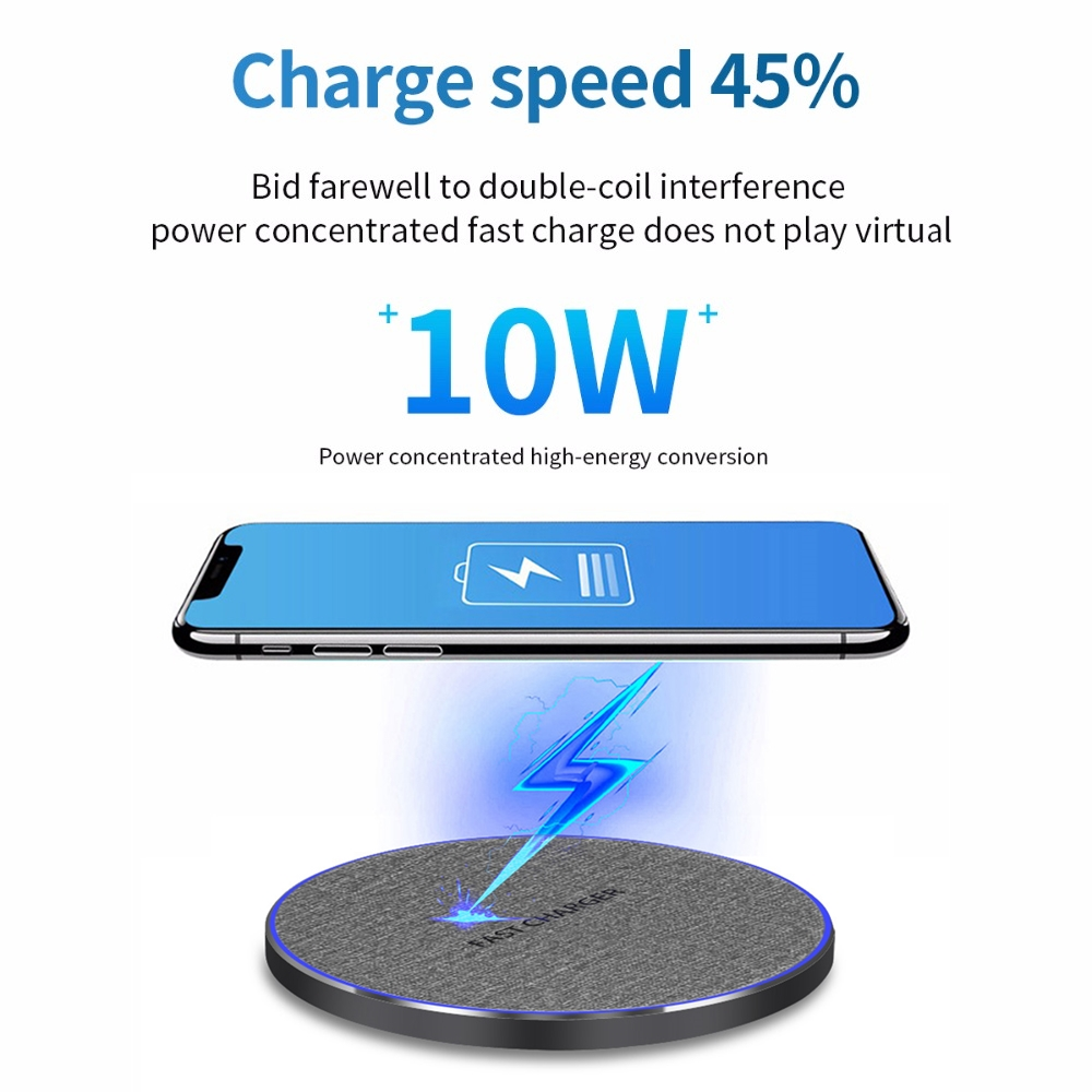 FDGAO Qi 10W Fast Wireless Charger For iPhone X XR XS Max 8 Plus QC 3 0 USB Wireless Charging Pad For Samsung S10 S9 S8 Note 8 9 in Mobile Phone Chargers from Cellphones Telecommunications