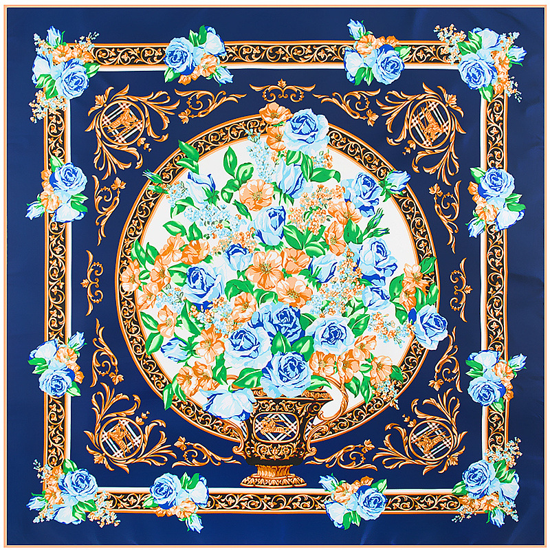 New Square Silk   Scarf   Luxury Brand Quality Women   Scarves     Wraps   Hijab Europe Colors Flowers Printed Super Large Bandana   Scarf