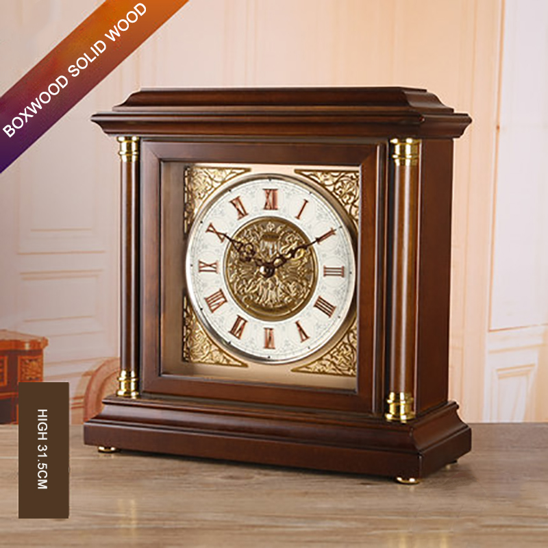 Square Solid Wood Silent Clock European Style Hourly Mute Table Clock Living Room Hotel Desktop Decoration Timekeeping Tool