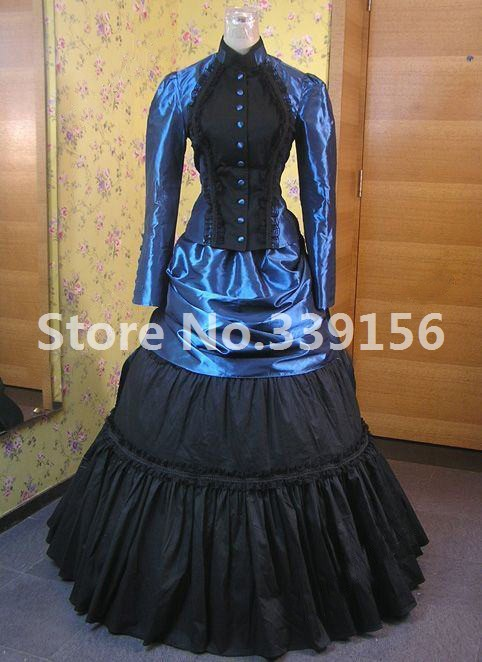 Civil War Victorian Edwardian Downton Abbey Titanic Bustle Blue And Black Dress Period Gown Riding Habit Stage Theatre Costume