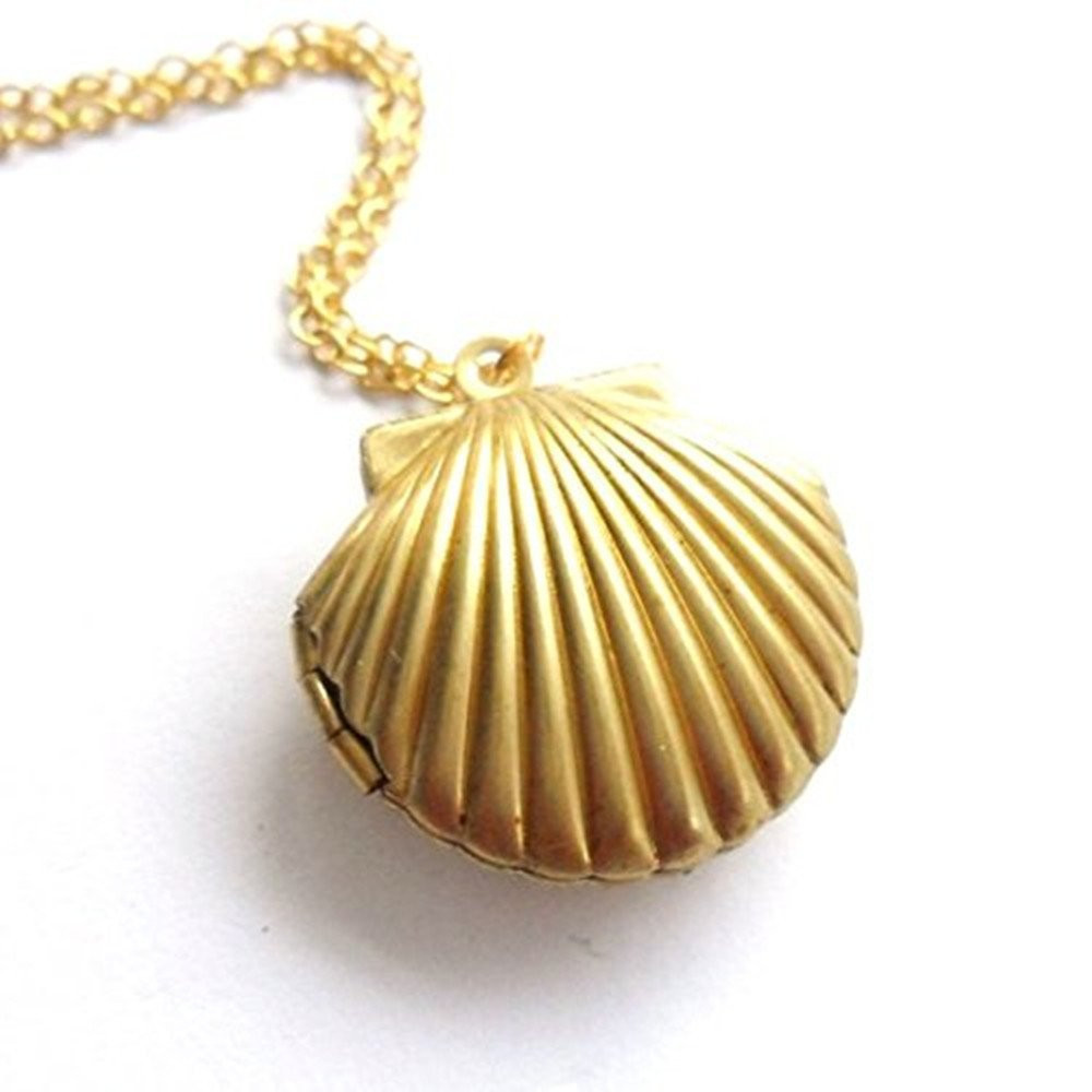 Openable Necklace Women Seashell Locket Pendant Gold Brass Necklaces & Pendants Collares Mujer #2920
