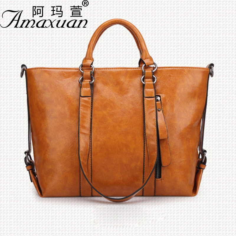 2017 new single shoulder oil wax leather fashion Messenger Women bag handbag wild locomotive trend PU Women package BH1409