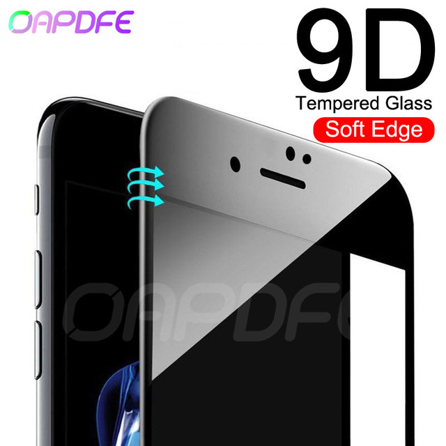 New 9D Full Cover Soft Edge Tempered Glass on the For iPhone 6 6s 7 8 Plus Screen Protector Film For iPhone X XR XS Max Glass