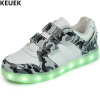 New Children Shoes LED Lighted USB Charging Light Shoes Boys Girls Camouflage Glowing Sneakers Kids Student Casual Shoes Flat 04