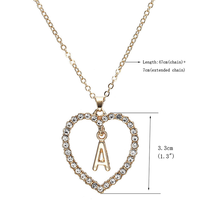 Romantic Love Pendant Necklace For Girls Women Rhinestone Initial Letter Necklace Alphabet Gold Collars Trendy New Charms Kolye 3