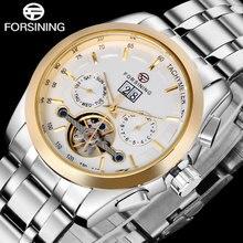 2016 FORSINING мужчины часы золото белый часы из нержавеющей стали автоматическая Механические с автоподзаводом ветер турбийон моды наручные часы