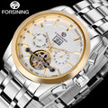 2017 FORSINING men watches gold white stainless steel watches automatic Mechanical self wind tourbillion fashion wristwatches