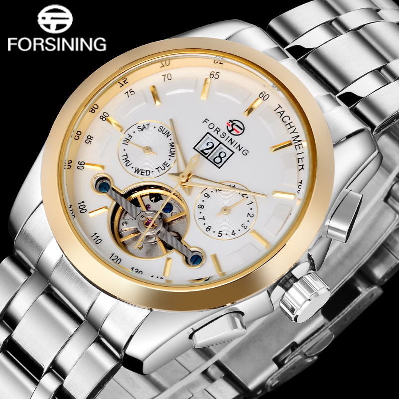 FORSINING 2017 Men Watches Gold White Stainless Steel Watches Automatic Mechanical Self Wind Tourbillion Fashion Wristwatches ysdx 398 fashion stainless steel self stirring mug black silver 2 x aaa