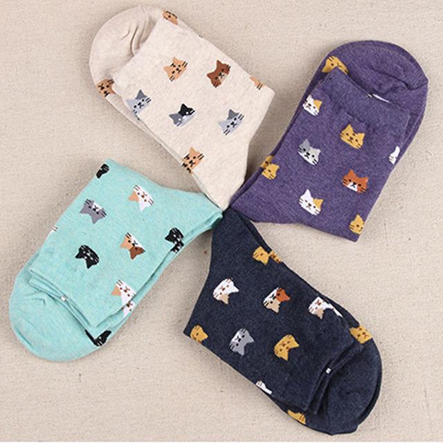 Jeseca 2019 Autumn Women Socks Cartoon Animal Cute Cat Sock for Girls Winter Thick Warm Cotton Sock for Ladies Christmas Gifts