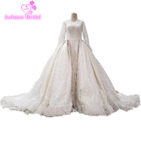 Real Photos Lace Appliques Flowers Beaded Pearls Arabic Bridal Dresses Long Sleeves 2017 Long Train Wedding