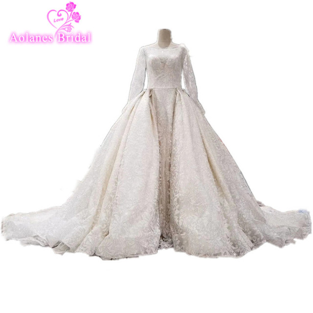 Real Photos Lace Appliques Flowers Beaded Pearls Arabic Bridal Dresses Long Sleeves 2017 Long Train Wedding Dresses Gowns