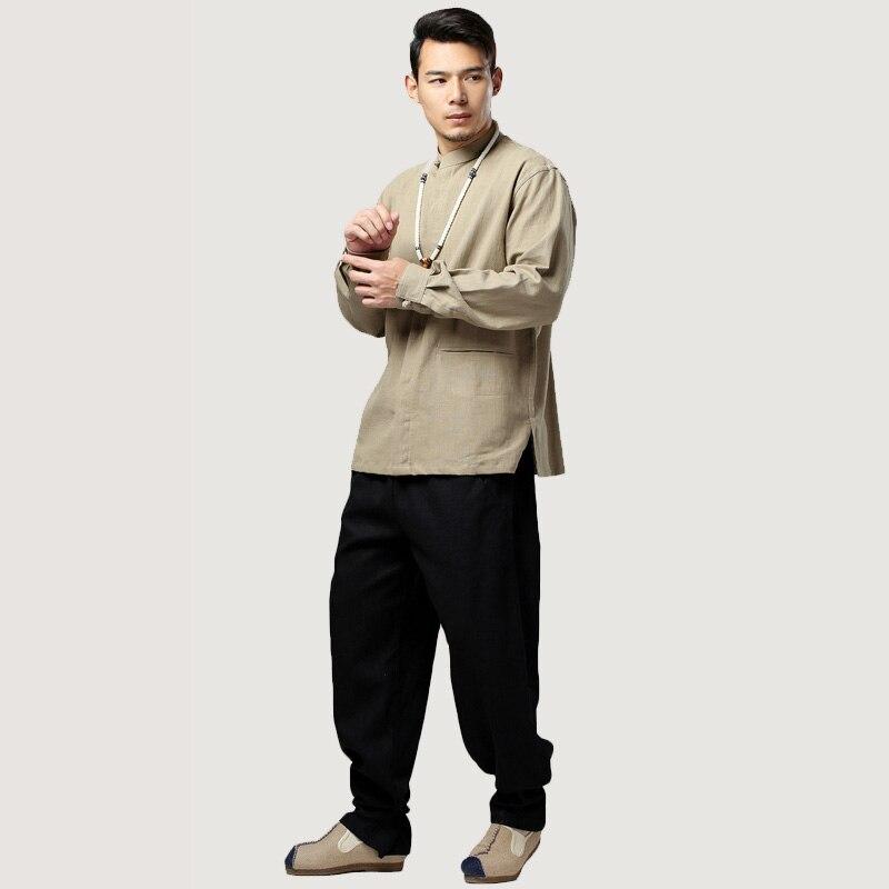 Hommes Unique Lin Blue Longues dark Poitrine Black khaki Ethnique Chinois Couleurs Manches Masculina Blouses 6 dark Vêtements Automne Printemps Chemise white Blusas En Red 5pfnWgFgz