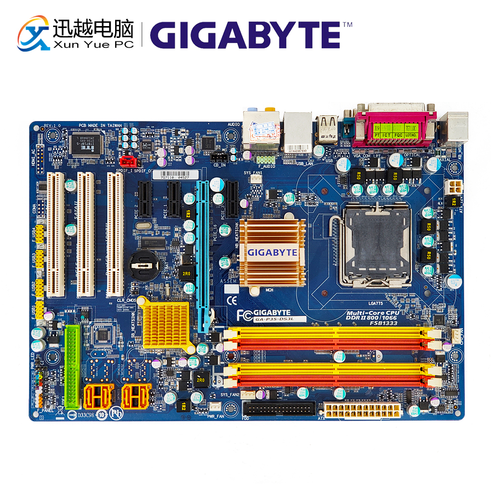 Gigabyte GA-P35-DS3L Desktop Motherboard P35-DS3L P35 LGA 775 DDR2 8G SATA2 ATX stylish star and stripe pattern patchwork 5cm width tie for men