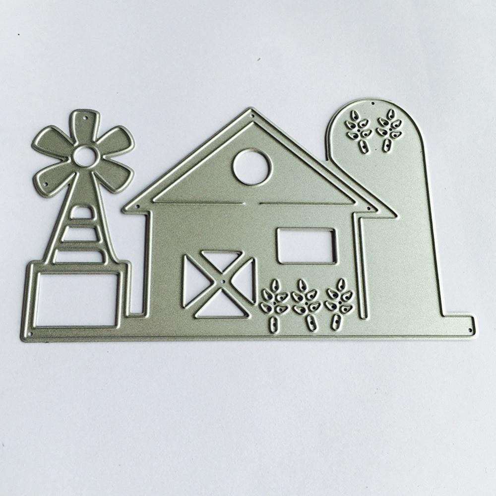 107x64mm scrapbooking DIY frame love Shape Metal steel cutting die House with windmill Shape Book photo album art card Dies Cut