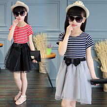 New Fashion Girls Dresses Summer Children Striped Dress Clothing Above Knee Mini Cute Short Clothes Girl 2 Color Size 6-16 Years