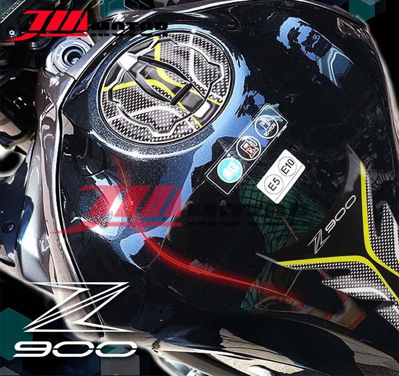 YEEXCD Motorrad Tankdeckel Aufkleber-Carbon-Faser-Fisch-Knochen-Aufkleber Fuel Tank Pad Abziehbilder f/ür Ka-Wasaki Z900