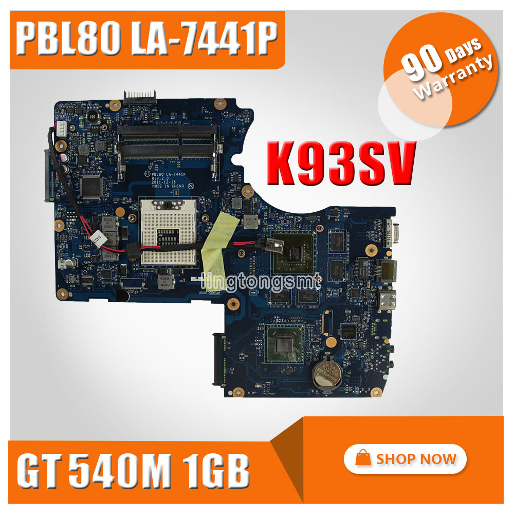 FOR ASUS Laptop Motherboard K93S K93SV X93SV X93S motherboard Genuine HM65 Mainboard PBL80 LA-7441P N12P-GS-A1 90 days warranty free shipping new for asus k93sv x93sv x93s pbl80 la 7441p rev 2 0 notebook motherboard with nvidia gt540m n12p gs a1 gpu