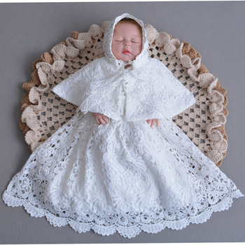 Baptism Gown 0-2Y Newborn Baby Christening Dress with Bonnet Hat Embroidered Dresses Long Cape Coat A015 Soft Lace Vestido Robe