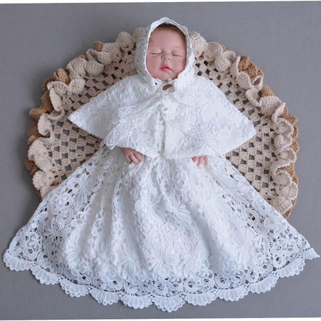 fe937cc4a943 Baptism Gown 0 2Y Newborn Baby Christening Dress with Bonnet Hat ...