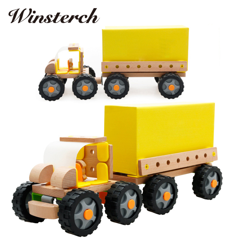 Baby Gifts DIY Wooden Assemblage Truck Goods Van Kids Children Early Educational Diecasts Toys Nut Vehicle Blocks Set ZS075 торшер kombi 1704 1f favourite 1143982