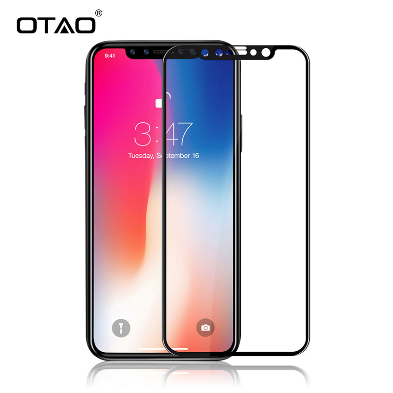 Galleria fotografica OTAO For Apple iPhone X 8 7 6S Plus Real 3D Full Cover Tempered Glass Screen Protector 9H Protective Glass For iPhone 10