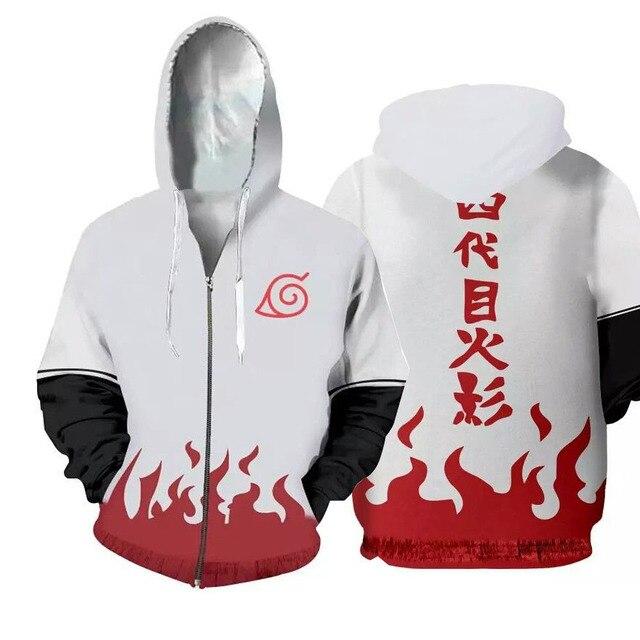 Naruto 3D Zip Up Flame Hoodie