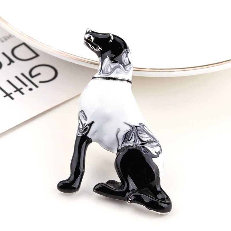 ALLYES かわいいラブラドール犬ブローチ女性のファッションメタルクリスタルグレー黒エナメル動物ブローチジュエリー