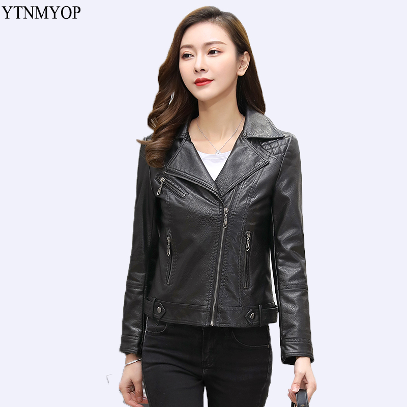 YTNMYOP Motorcycle   Leather   Jacket Women Plus Size M-5XL   Leather   Clothing Outerwear Turn-down Collar Zipper   Leather   Coat   Suede