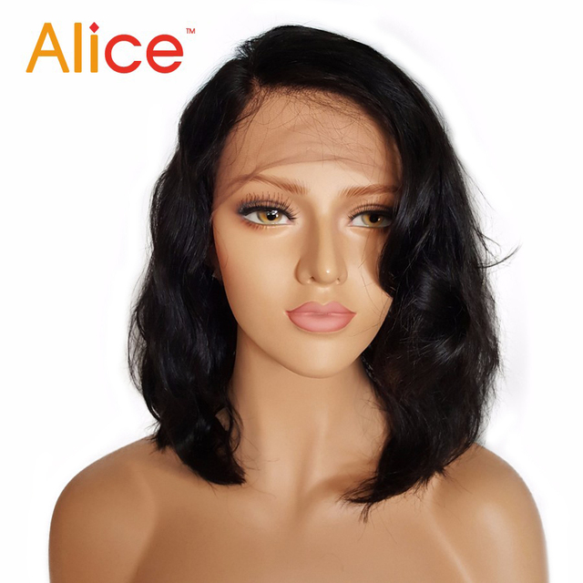 Alice Bleached Knots Full Lace Wigs Human Hair With Baby Hair Wavy Short Full Lace Human Hair Wigs For Black Women All Hand Tied