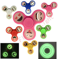 Night Light Smiley Face Expression Luminous Triangle Gyro Finger Spinner Hand Fidget Decompression Toys Children Gifts