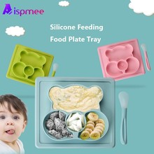 купить Safe Silicone Dining Plate Children Cartoon Tableware Baby Dinner Plate Kids Training Bowl For Kids Suction Toddle Feeding Dishe онлайн
