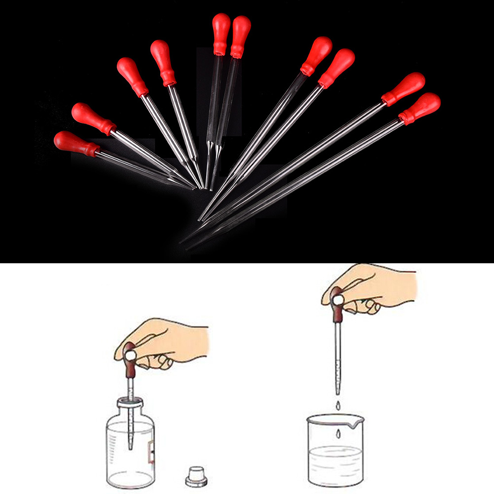 9cm/10cm/12cm/15cm/20cm Durable Long Glass Experiment Medical Pipette Dropper Transfer Pipette Lab Supplies With Red Rub