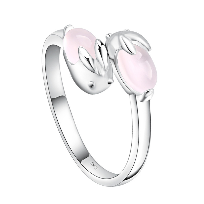 100% 925 sterling silver fashion natural pink opal gem rabbit ladies`finger rings jewelry girl party ring wholesale no fade