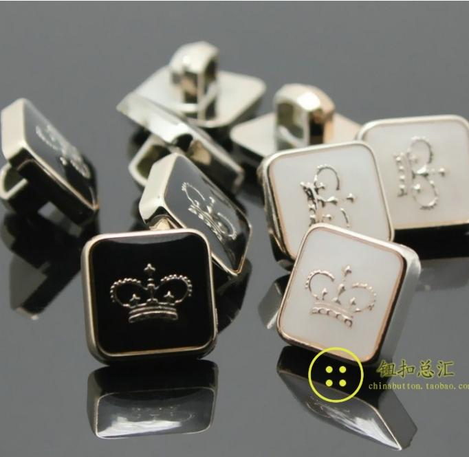 11mm Plastic resin plating rose golden square crown shirt button shank buttons 100pcs/lot free shipping