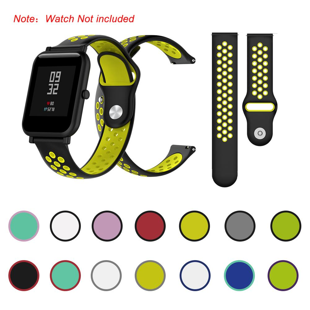 NEW 20MM Bicolourable Silicone Watchband Strap for Huami Amazfit Bip A1608 Replacement Wrist Strap Bracelet Smart Accessories