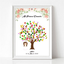 Personalized Mi Primera Comunion DIY Fingerprint Guestbook Boys Girls First Communion Souvenir Party Decoration Ink Pad Included(China)