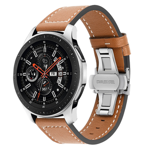 Image 5 - Genuine Leather Watchband for Samsung Galaxy Watch 42mm 46mm/ Active/ Active2 40mm 44mm Quick Release Band Butterfly Clasp Strap
