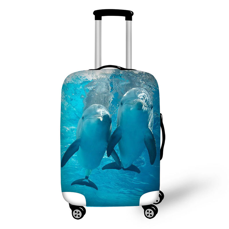 Marine Dolphins Prints Travel Luggage Suitcase Cover Storage Bag Case Cover Thick Protective 18-30 Inch Travel Accessories