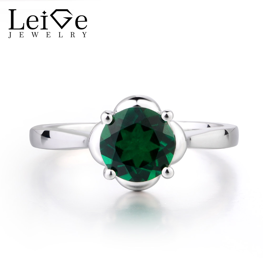 Leige Jewelry Green Color lab Emerald Ring Prong Setting Round Cut May Birthstone Popular Pretty Gifts For Girls 925 SilverLeige Jewelry Green Color lab Emerald Ring Prong Setting Round Cut May Birthstone Popular Pretty Gifts For Girls 925 Silver