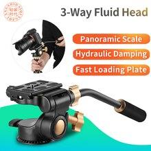 Q08S aluminium 3 Way opór płynu Pan głowy ramię wahacza statyw fotograficzny głowica kulowa lustrzanki DSLR statyw kamery Monopod