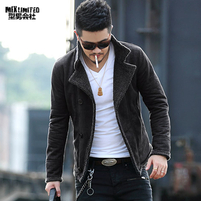 Осенние винтажные лет кожаная куртка Для мужчин шерстяной подкладкой Для мужчин теплый меховой воротник куртки Для мужчин s искусственная кожа короткая куртка пальто F1055