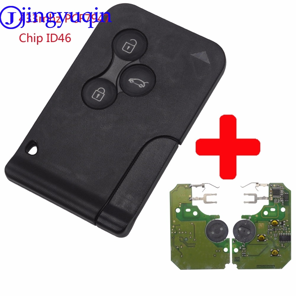 jingyuqin 3 Buttons Remote Card Key Smart Car Key Fob For Renault Megane Scenic 2003-2008 with Uncut Key Blade 434Mhz ID46 Chip