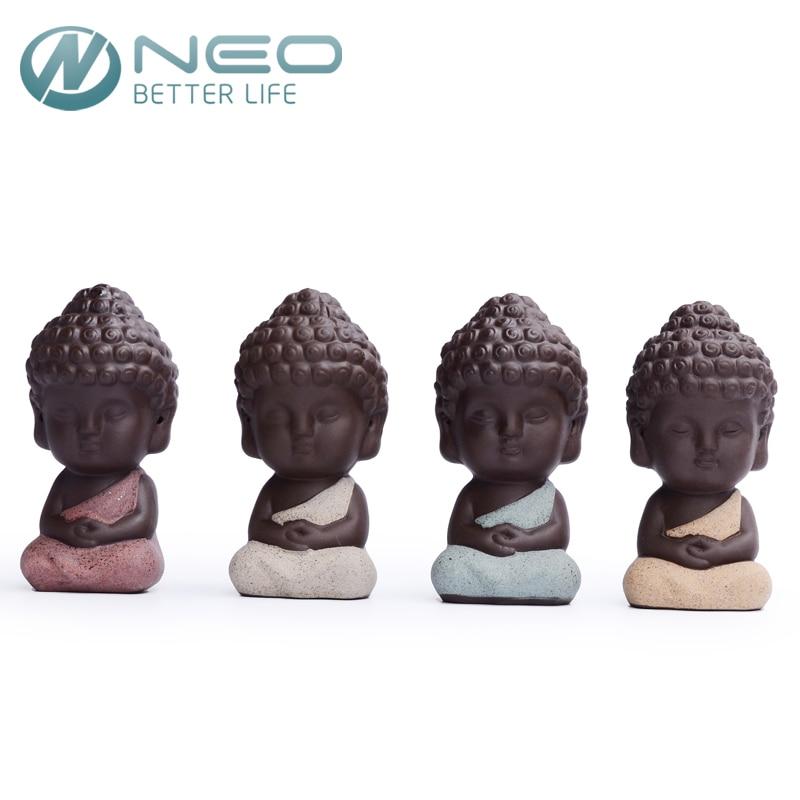Charming NEO 9.5cm*4.9cm Buddha Statue Tea Pet Monk Figurine India Yoga Oriental  Culture Ornament Succulent Plant Bonsai Garden Decor